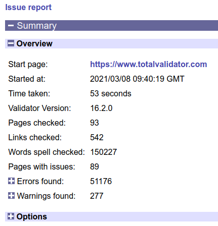 top of the page report